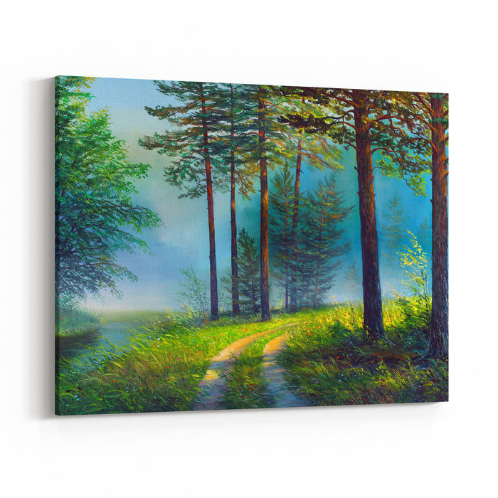 Oil Painting Landscape Colorful Summer Forest Beautiful River With Awaterfall Canvas Wall Art Print