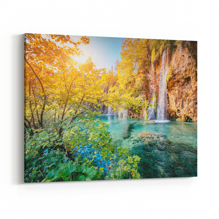 Majestic View On Turquoise Water And Sunny Beams Unusual And Gorgeous Scene Location Famous Resort Plitvice Lakes National Park, Croatia, Europe Beauty World Retro Filter Instagram Toning Effect Canvas Wall Art Print