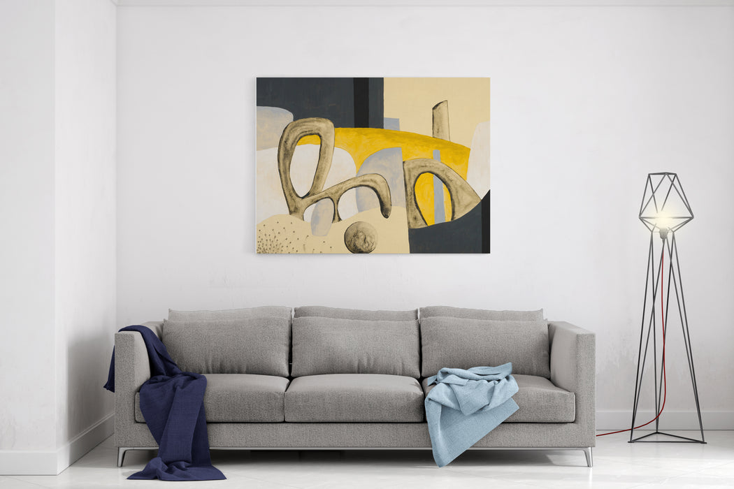 A Painting With Bizarre Biomorphic Shapes On A Yellow Background Canvas Wall Art Print