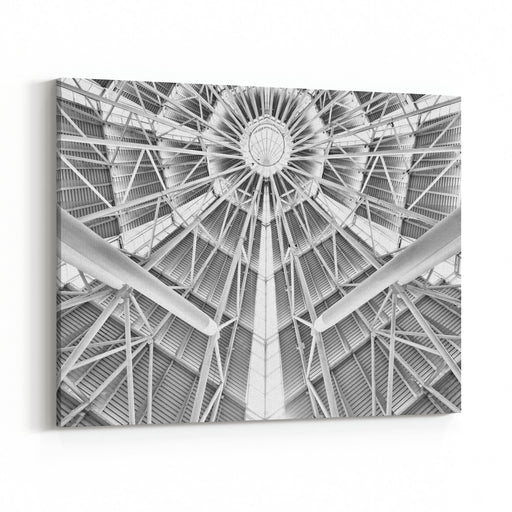Geometric Structural Abstract Architectural Roofing Beam Support Technology Canvas Wall Art Print