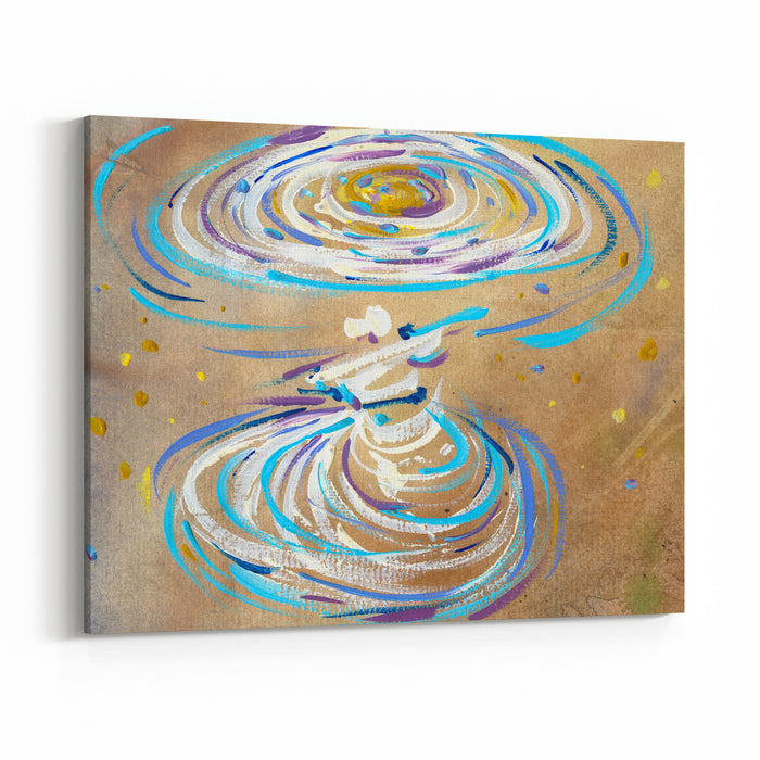 Illustration Abstraction Religion Sufis Dance Drawn In Gouache And Watercolor Canvas Wall Art Print