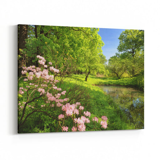 Spring Landscape With Pond And Rhododendron Canvas Wall Art Print