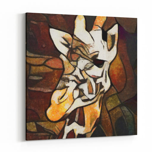 Abstraction Giraffe The Painting Is Executed In Oil On Canvas Using The Elements Of A Pastel Painting Modern Style, Bright Colors For Interior Design Canvas Wall Art Print