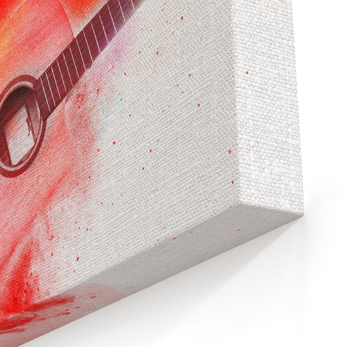 Abstract Digital Painting Of Classic Guitar Canvas Wall Art Print