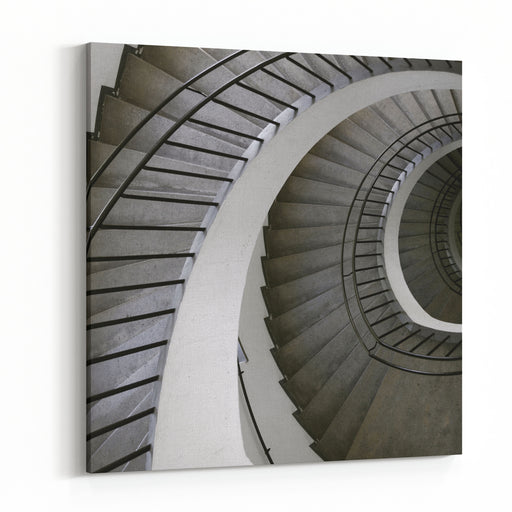 Winding Stair Rail In Museum In Munchen, Germany Canvas Wall Art Print