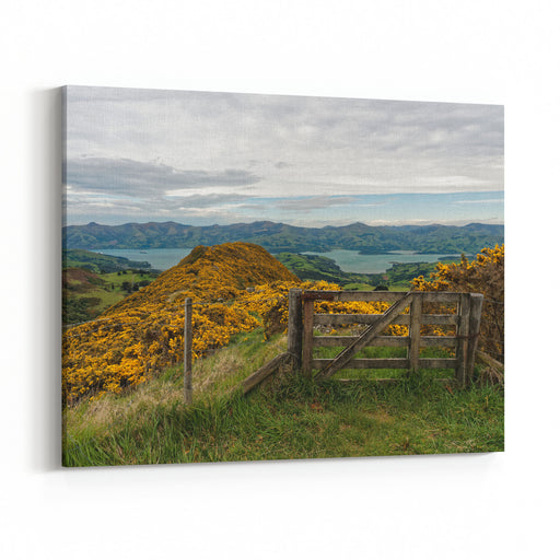 Views From The Scenic Summit Rd Over Looking Akaroa Village And Akaroa Bay, The Scenic Drive Is Wonderful With Beautiful Landscapes  Near Christchurch South Island New Zealand Canvas Wall Art Print