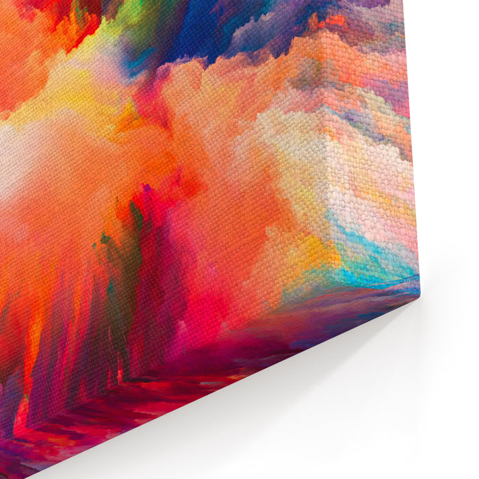 Color Splash Series Background Design Of Fractal Paint And Rich Texture On The Subject Of Imagination, Creativity And Art Canvas Wall Art Print