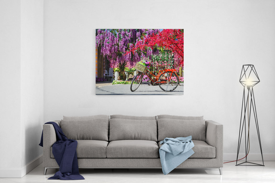 A Vintage Bicycle With A Flower Canvas Wall Art Print