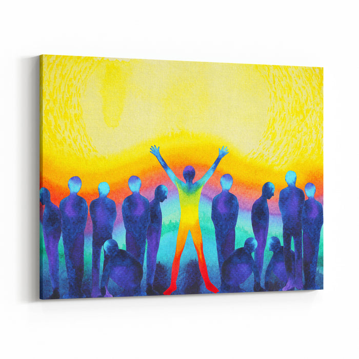 Man With Positive Power And Universe Light Watercolor Painting Abstract Art Canvas Wall Art Print