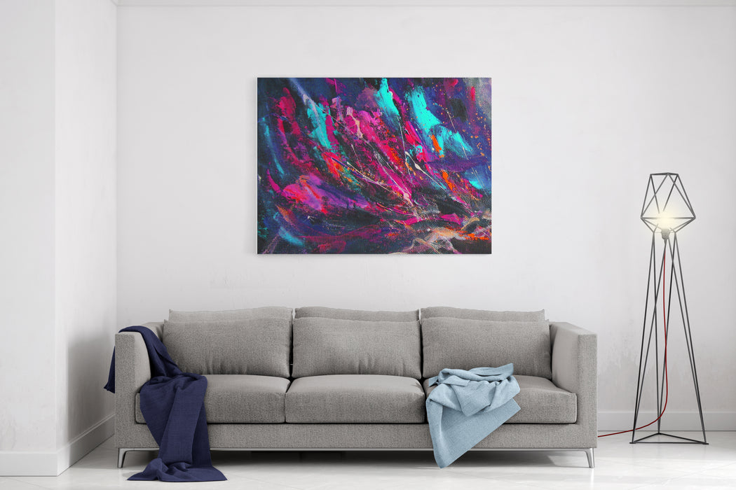 Abstract Painting Background With Sprays, Spots And Drops, In Bluepink Colors Original Acrylic On Canvas Canvas Wall Art Print