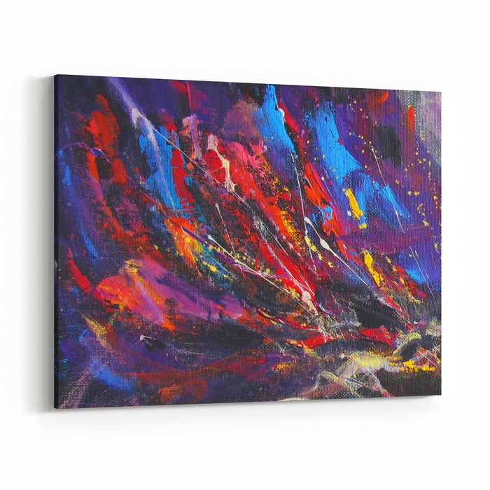Abstract Painting Background With Sprays, Spots And Drops, Multicolor Original Acrylic On Canvas Canvas Wall Art Print