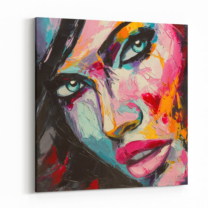 A Fantasy Woman Colorful Portrait In Abstract And Pop Art Styles Oil Painting On Canvas Canvas Wall Art Print
