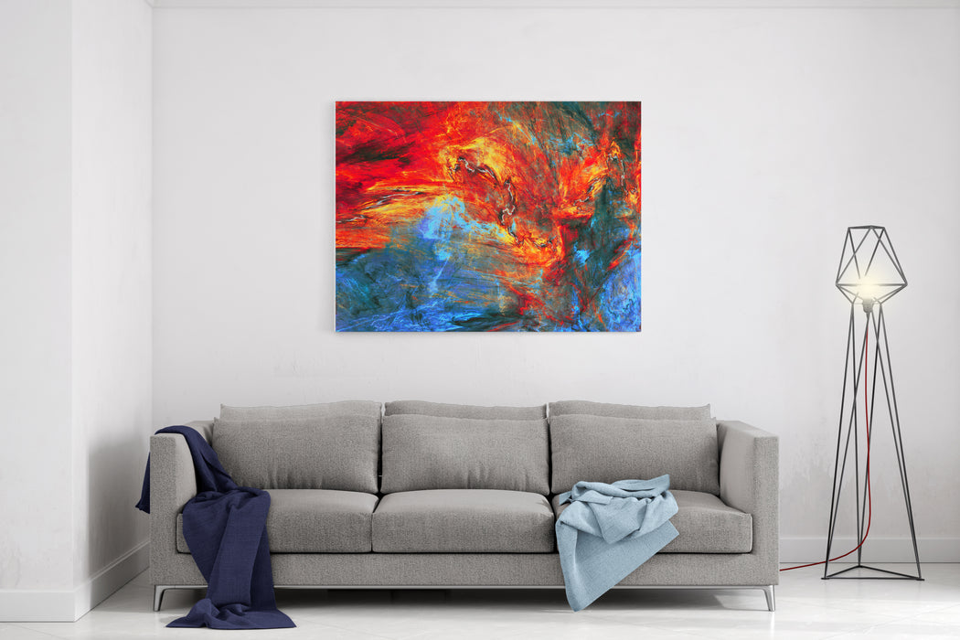 Abstract Red And Blue Painting Texture Molten Lava Liquid Background Modern Futuristic Vibrant Fiery Pattern Bright Flame Dynamic Background Fractal Artwork For Creative Graphic Design Canvas Wall Art Print