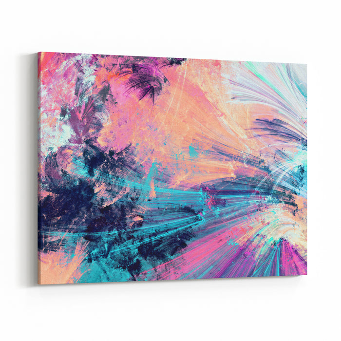 Cold Multicolor Beautiful Futuristic Pattern Abstract Painting Bright Color Texture Bright Modern Artistic Motion Background Fractal Artwork For Creative Graphic Design Canvas Wall Art Print