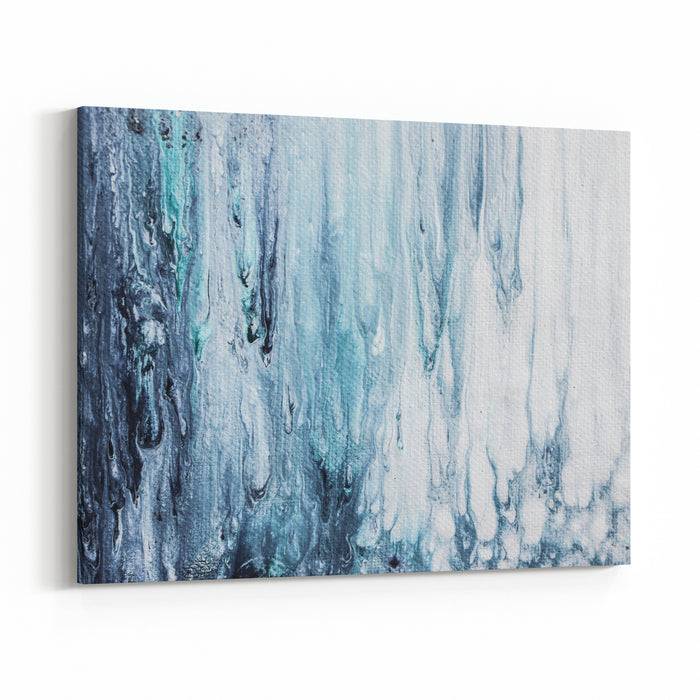 Blue And White Abstract Painting On Canvas Canvas Wall Art Print