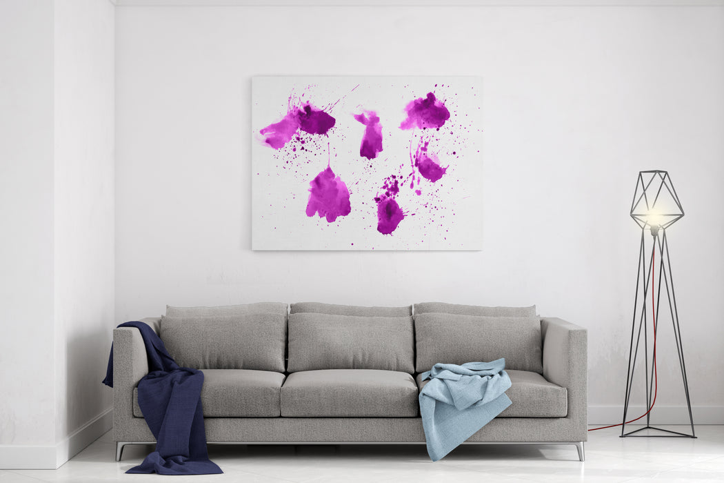 Colorful Abstract Watercolor Stain With Splashes And Spatters Modern Creative Background For Trendy Design Canvas Wall Art Print