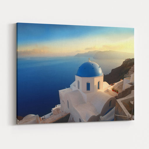 Panorama Over A Church On Santorini Island Canvas Wall Art Print