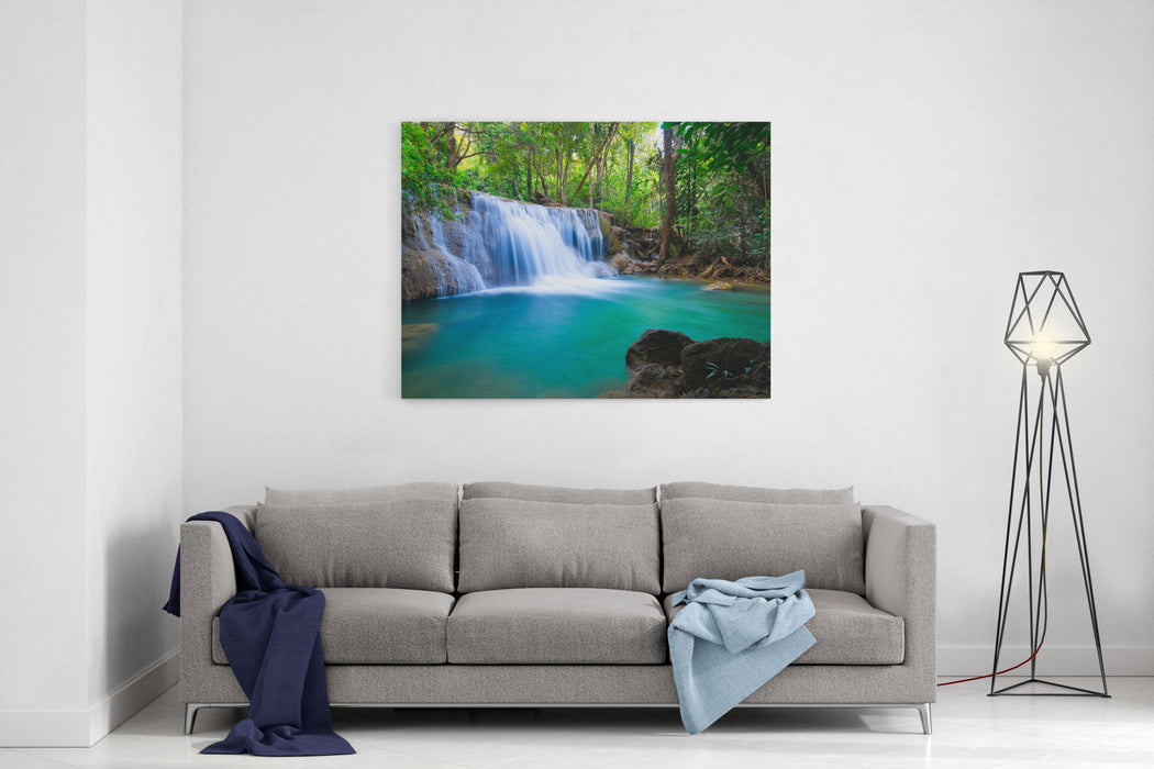 Deep Forest Waterfall In Kanchanaburi, Thailand Canvas Wall Art Print