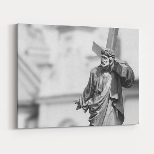 The Crucifixion Of Jesus Christ As A Symbol Of Gods Love Antique Statue Canvas Wall Art Print