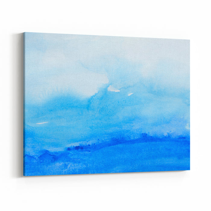 Close Up Of  Water Color Strokes Painting On White Background Canvas Wall Art Print
