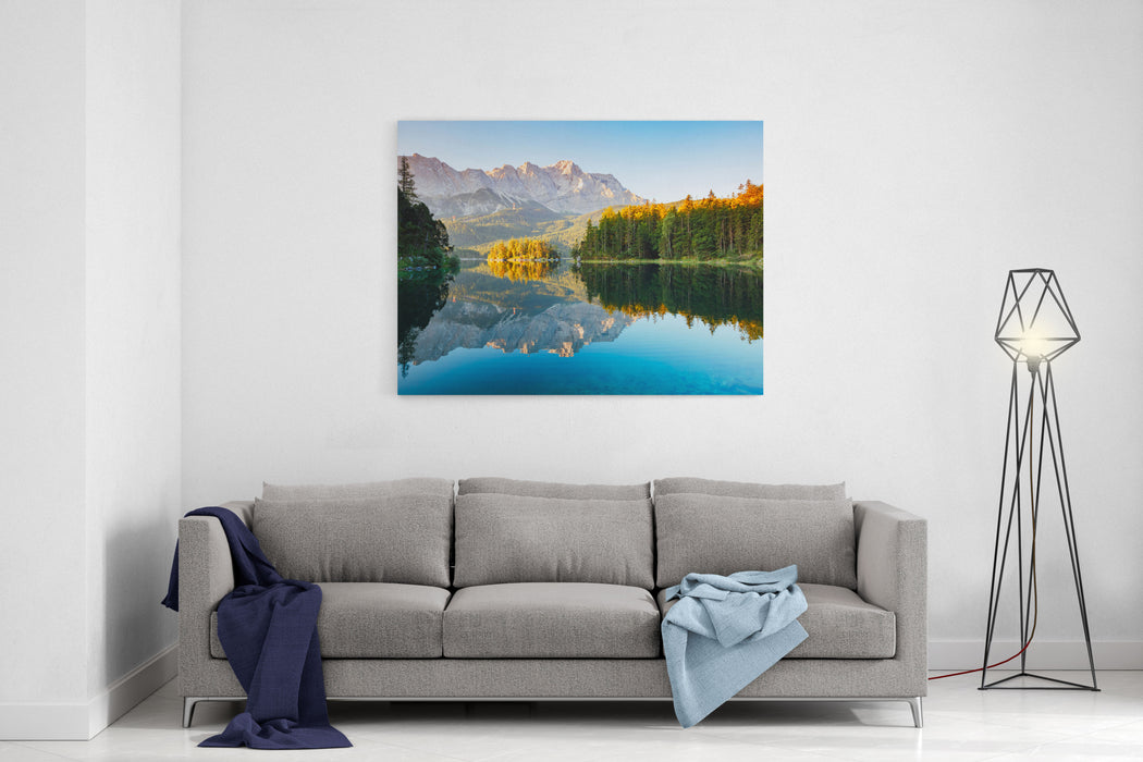 Scenic Surroundings Near Famous Lake Eibsee Wonderful Day Gorgeous Scene Location Resort GarmischPartenkirchen, Bavarian Alp, Sightseeing Europe Outdoor Activity Explore The Worlds Beauty Canvas Wall Art Print