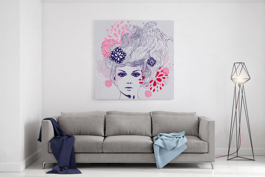 Abstract Beautiful Handdrawn Woman Canvas Wall Art Print