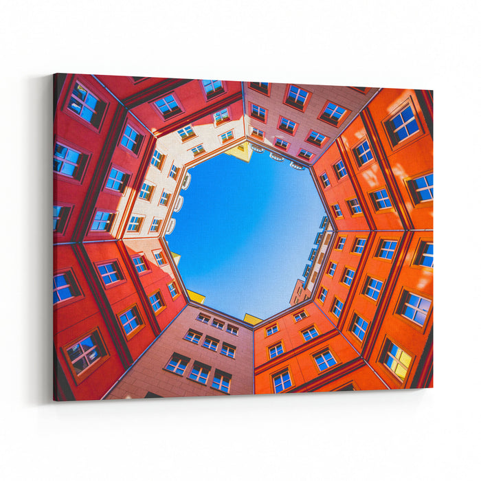 Octagon Shape Building Inner Court Canvas Wall Art Print