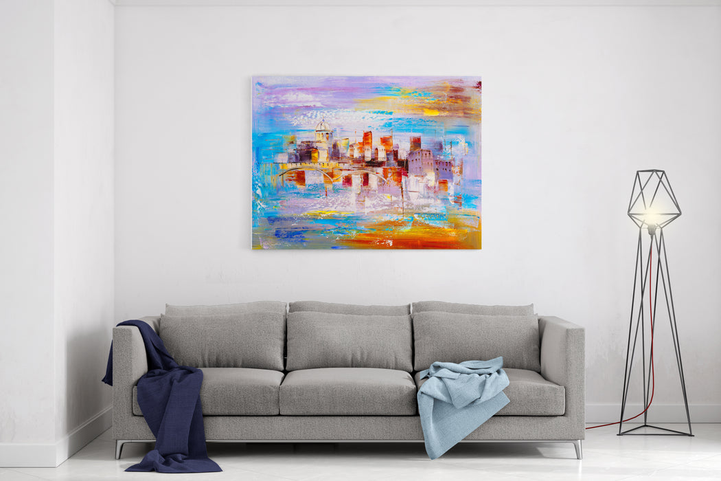 Oil Painting  City View Of Prague Canvas Wall Art Print
