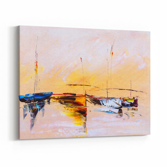 Oil Painting  Boat Canvas Wall Art Print
