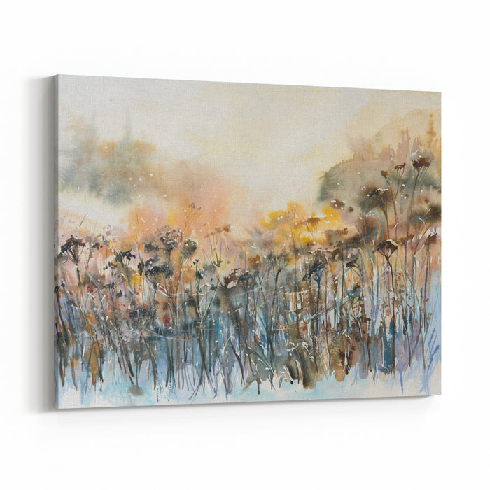 Abstract Nature Background With Floral MotifsPicture Created With Watercolors Canvas Wall Art Print