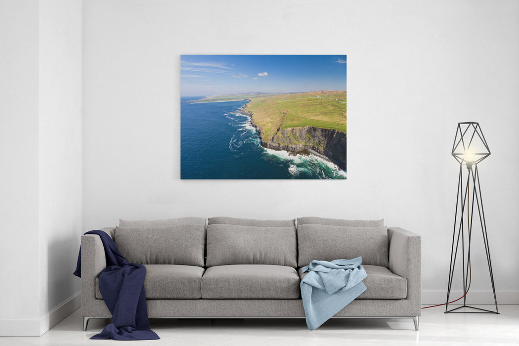 Aerial Ireland Countryside Tourist Attraction In County Clare The Cliffs Of Moher And Burren Ireland Epic Irish Landscape Seascape Along The Wild Atlantic Way Beautiful Scenic Nature Ireland Canvas Wall Art Print