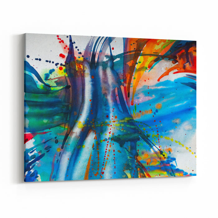 Abstract Watercolor Texture Modern Painting Colorful Rainbow Palette Avantgarde Art Reminiscent Of Graffiti Contemporary Art Canvas Wall Art Print