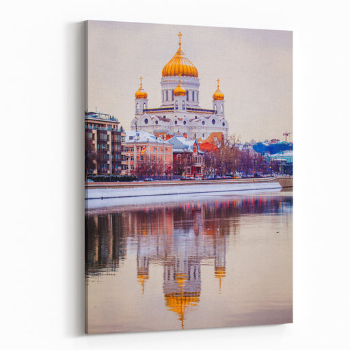 Cathedral Of Christ The Savior In The Winter Christian Landmark In Russia Canvas Wall Art Print