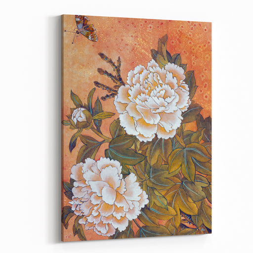 Delicate White Peony And Butterfly Canvas Wall Art Print