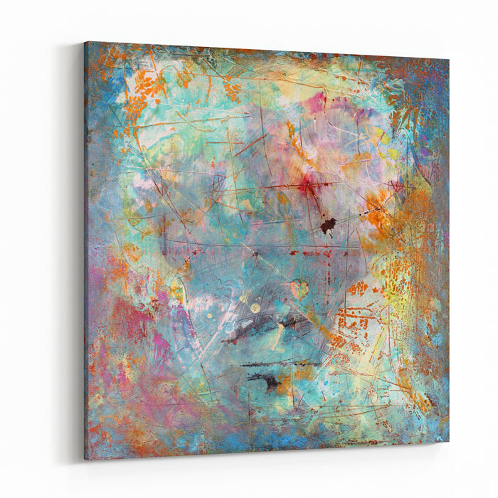 Hand Painted Background Grunge On Canvas Canvas Wall Art Print
