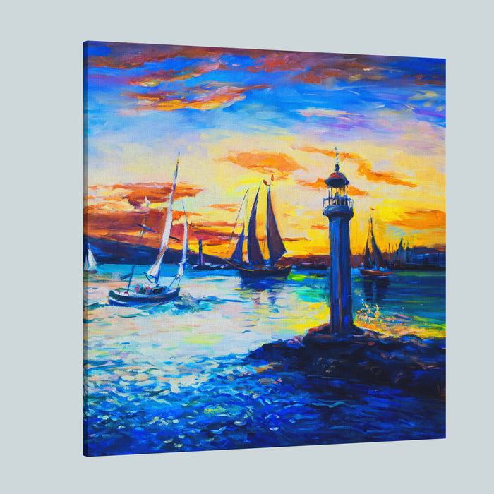 Original Oil Painting On Canvas Old Lighthouse  Fine ArtModern Impressionism Canvas Wall Art Print