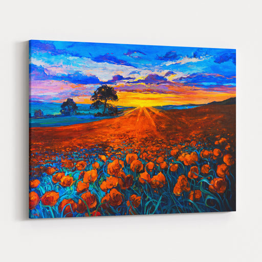 Original Oil Painting On Canvas Poppy Field, Sunset Fine Art Modern Impressionism Canvas Wall Art Print