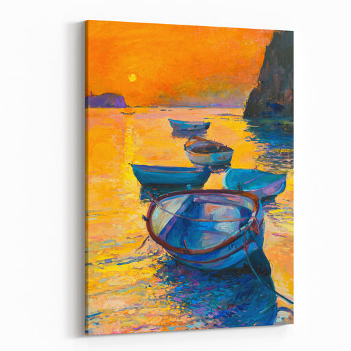 Original Oil Painting On Canvas Boats In The Ocean, Sunset Fine Art Modern Impressionism Canvas Wall Art Print