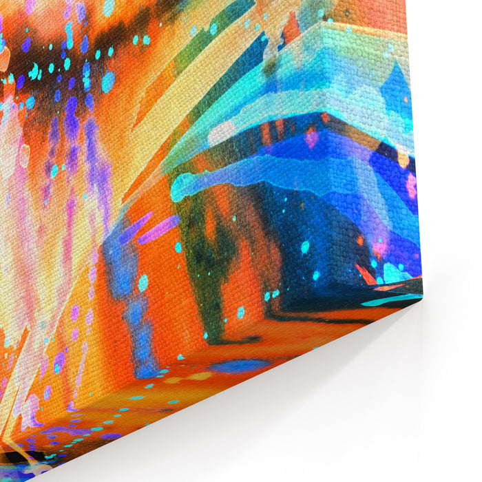 Abstract Watercolor Texture Modern Painting Colorful Rainbow Palette Avantgarde Art Reminiscent Of Graffiti Contemporary Art Stains, Spray Paint Colorful Streaks Canvas Wall Art Print