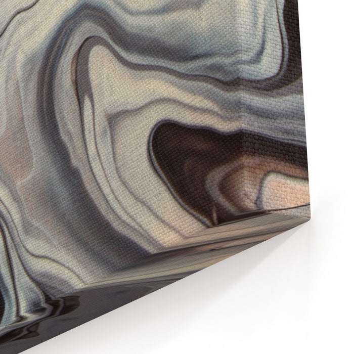 Grey And White Marble Texture, Color Mix, Watercolor Art Painting, Brown Marbling Canvas Wall Art Print