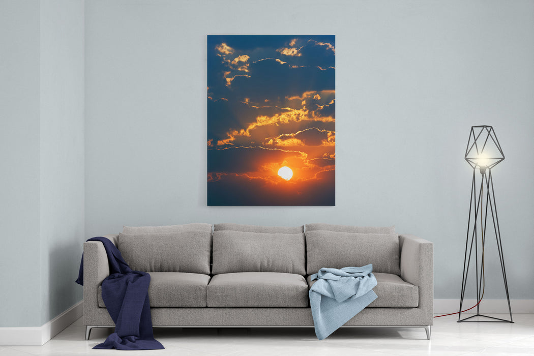 Colourful Sunrise Creating Golden Edges Around Clouds Canvas Wall Art Print