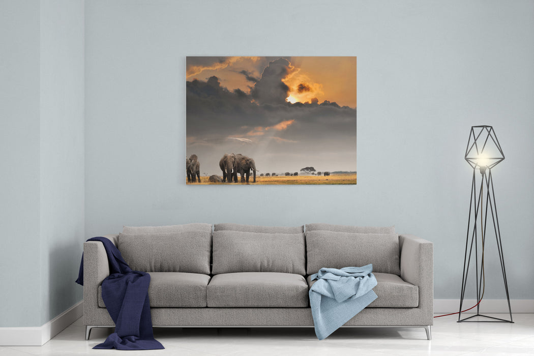 African Sunset With Elephants Canvas Wall Art Print