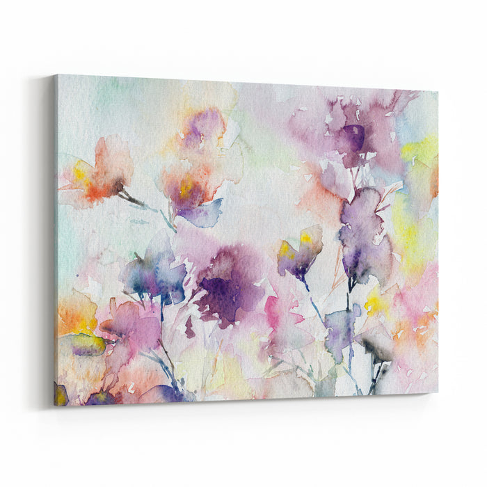 Floral Background Watercolor Abstract Flowers Greeting Card Wedding Invitation Template Floral Card Lilac Spring Flowers Watercolor Floral Wall Art Painting For Home Canvas Wall Art Print