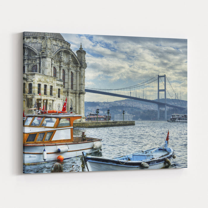 A Beautiful View Of Ortakoy Mosque And Bosphorus Bridge In Istanbul, Turkey Canvas Wall Art Print