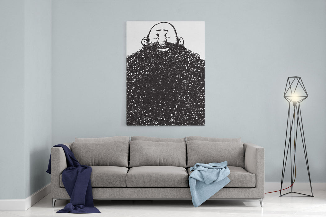 Cartoon Style Illustration Of A Beard Man Canvas Wall Art Print
