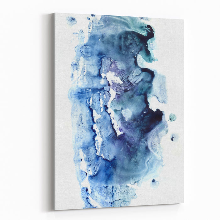 Vivid Gouache Dab Etude On Paper Fond And Space For Text Sketch In Modern Style Color Paint Hand Drawn Closeup Cold Wet Lake Stains On Light Card Macro View Of Grunge Fantastic Navy Spot Form Design Canvas Wall Art Print
