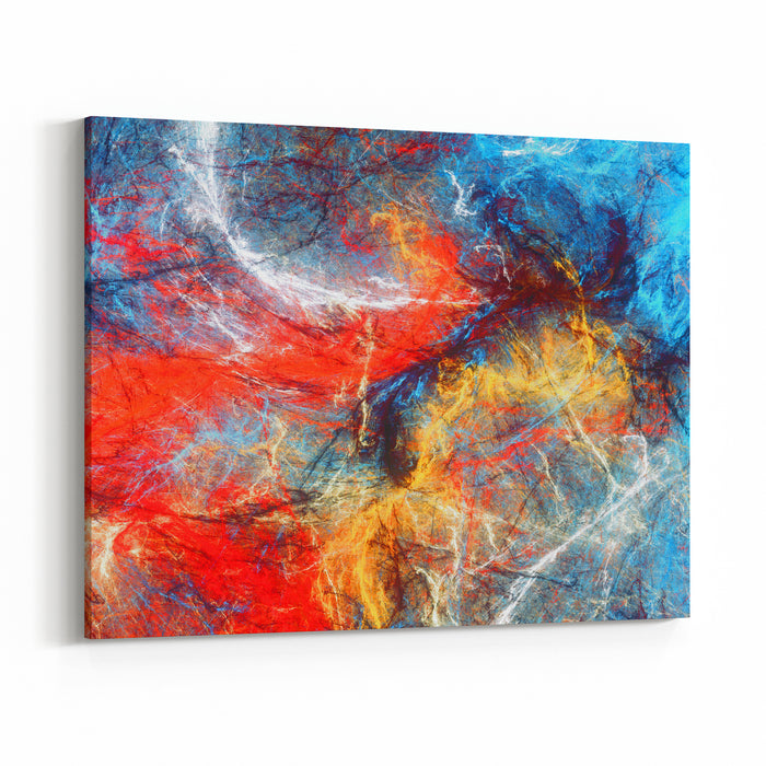 Bright Artistic Splashes Abstract Painting Color Texture Modern Futuristic Pattern Blue, Red And Yellow Dynamic Background Fractal Artwork For Creative Graphic Design Canvas Wall Art Print