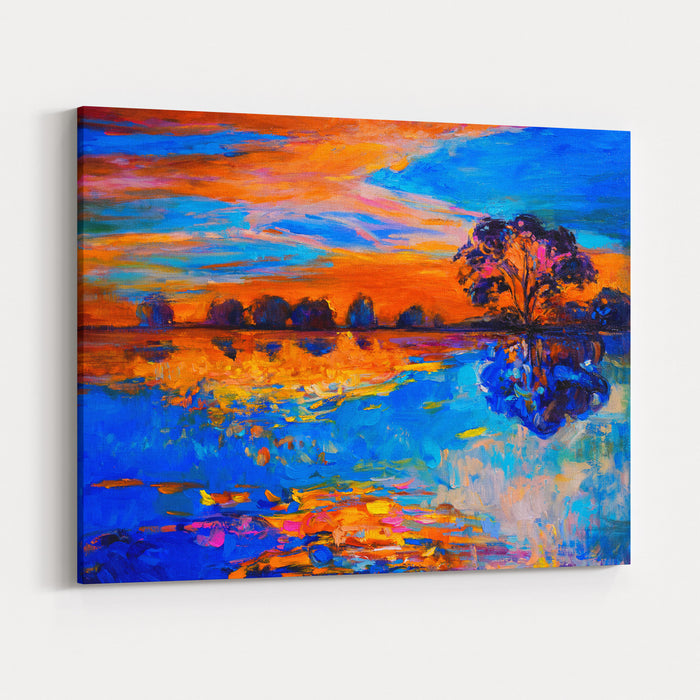 Oil Painting Of A Beautiful Sunset Over A Lake Modern Impressionism Canvas Wall Art Print