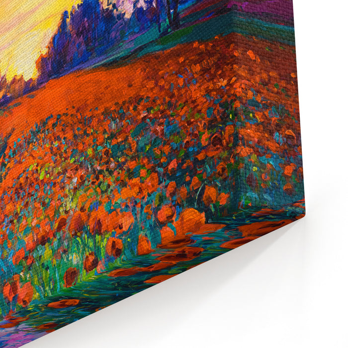 Oil Painting Of A Poppy Field Sunset Over The Red Field Modern Art Canvas Wall Art Print