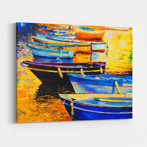 Oil Painting On Canvas Boats Painting Modern Art Canvas Wall Art Print
